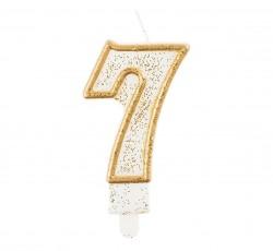 """Świeczka cyferka """"7"""", złoty..."""